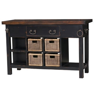 Bramble Co. Umbria Small Kitchen Island Vintage Black/Black Heavy Distressed