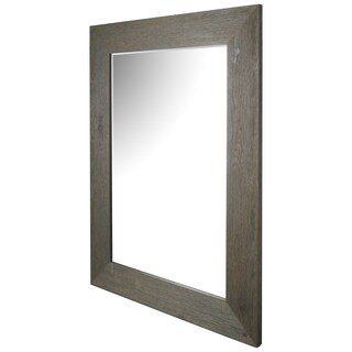 Hobbitholeco. Hand-stained Grey Wood Beveled Mirror (34 x 46)