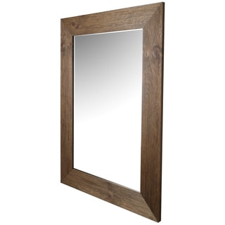 Hobbitholeco. Hand-stained Pine Wood 34-inch x 46-inch Beveled Mirror