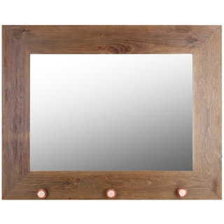 Hobbitholeco. Brown Wash Real Wood 29-inch x 37-inch Mirror with Orange Knobs (20-inch x 28-inch Inner Mirror)