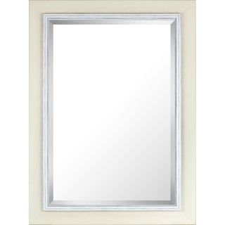 IMM215ONL White-wash Hand-stained Wood 31.25-inch x 43.25-inch Frame with Liner Beveled Mirror