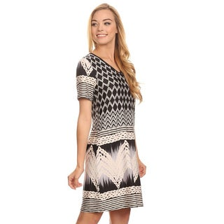 MOA Collection Women's Black/White Polyester/Spandex Border Pattern Short Dress