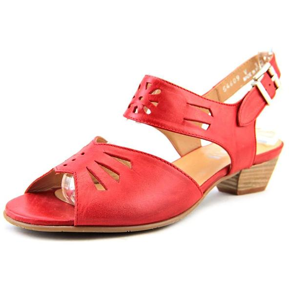 Fidji Women's V112 Red Leather Ankle Strap Sandals