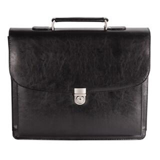 Bugatti Executive Black Leather 15.6-inch Laptop Briefcase