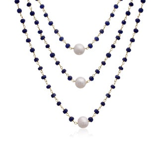 41 Carat Blue Sapphire and Pearl Triple Strand Necklace In 14K Yellow Gold Over Sterling Silver, 20 Inches