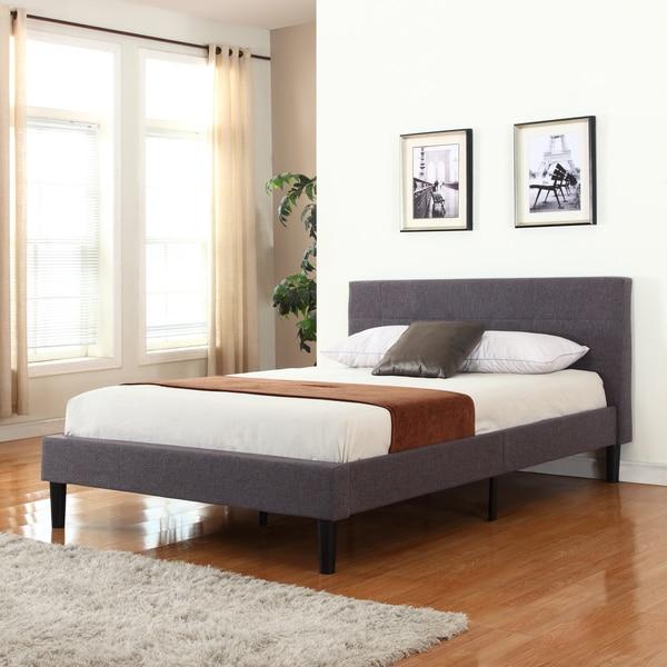 Grey Linen Fabric Upholstered Platform Bed 18844742