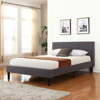 Grey Linen Fabric Upholstered Platform Bed
