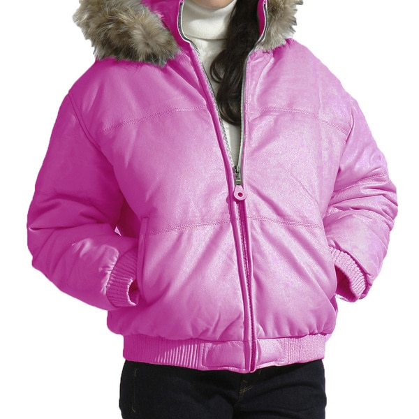 Women's Leather Bubble Bomber Jacket with Detachable Hood