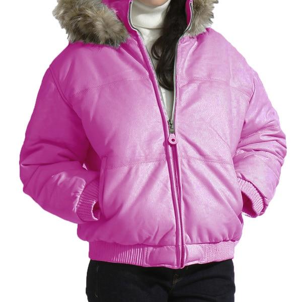 Women's Leather Bubble Bomber Jacket with Detachable Hood