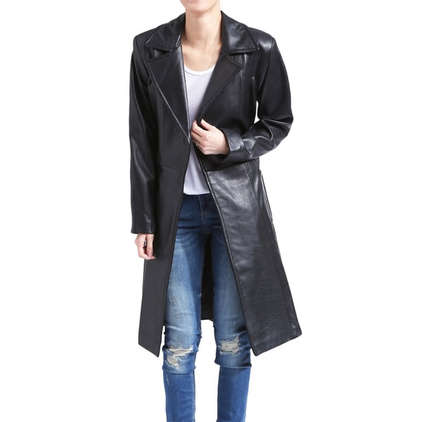 Women's Black Lamb Leather Wrap Trench Coat (Size Small)