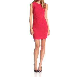 BCBG Max Azria Pink Polyester Size 6 Crewneck Mini Sheath
