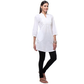 In-Sattva Women's Indian Embroidered Solid White Kurta Tunic