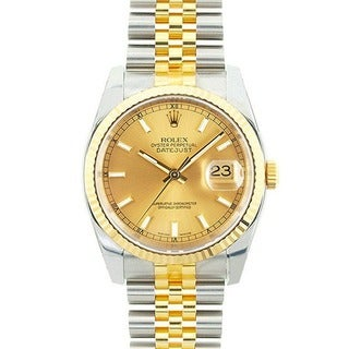 Pre-owned Rolex Men's Datejust Two-Tone Champagne Dial Watch Model 116233