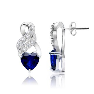 Glitzy Rocks Sterling Silver Created Gemstone and White Topaz Heart Earrings