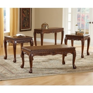 8226 Cherry-finished Veneer MDF Deluxe Carved 3-piece Coffee Table Set
