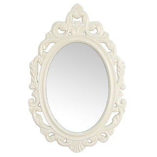 Stratton Home Decor Baroque White Wall Mirror