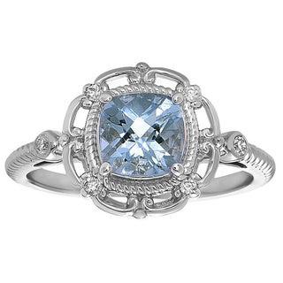14k White Gold Aquamarine and Diamond Accent Ring