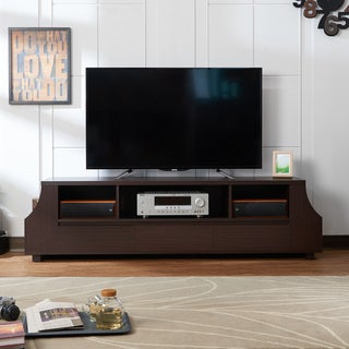 Furniture of America Basa Contemporary 71-inch Walnut 3-shelf TV Stand