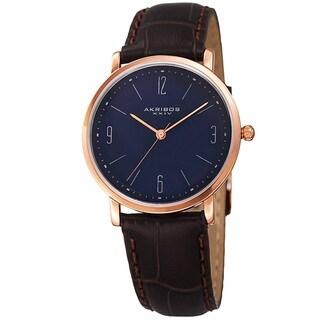 Akribos XXIV Women's Quartz Easy to Read Leather Blue Strap Watch