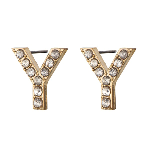 Gold Y Rhinestone Initial Stud Earrings