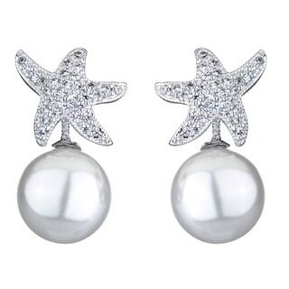 Imitation Pearl and CZ Starfish Earrings
