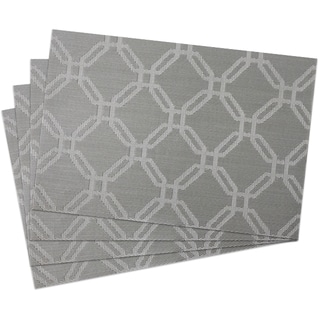 Silver PVC 13-inch x 19-inch Links Woven Placemats (Pack of 4)