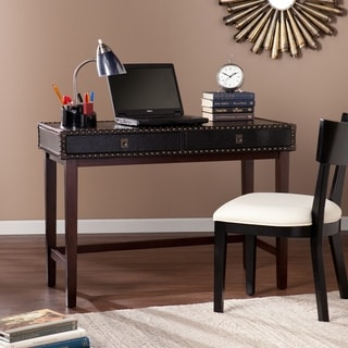 Upton Home Randall Black Faux Leather Writing Desk