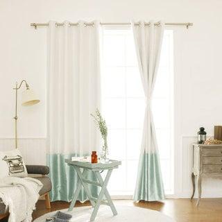 Aurora Home Faux Silk Colorblock Blackout Curtain Panel