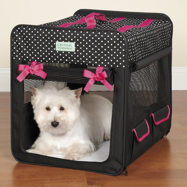 Cruising Companion Black Fabric Polka Dot Collapsible Dog Crate