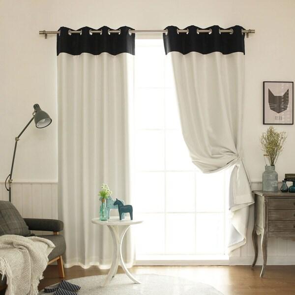 Aurora Home Top Border Faux Silk Blackout Curtain Panel