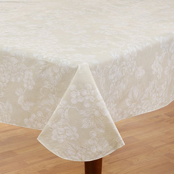 Grapevine Ivory Vinyl Flannel Back 60 Inch X 84 Inch