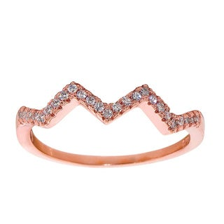 Eternally Haute Solid Sterling Silver Stackable Pave Double Chevron Ring
