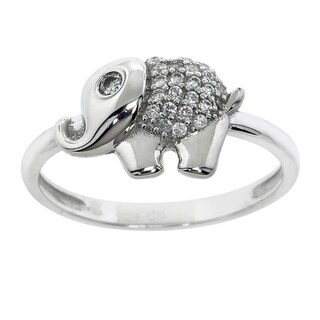 Eternally Haute Solid Sterling-silver Pave Baby Elephant Ring