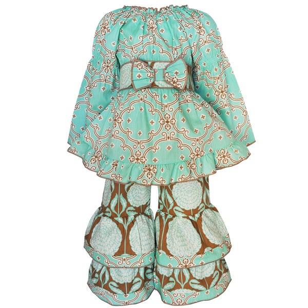 AnnLoren Girls Blue and Beige Tunic and Floral Pant Set