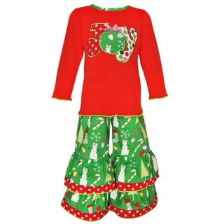 Ann Loren Girls' Red/Green/White Cotton Christmas Joy Shirt and Pants Outfit