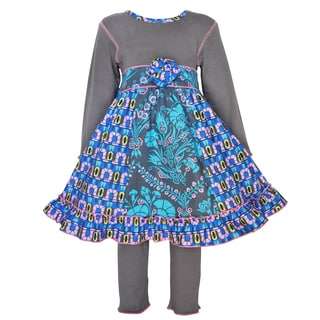 AnnLoren Girl's Glue, Grey and Pink Cotton Floral and Geometric Panel Dress and Legging Set