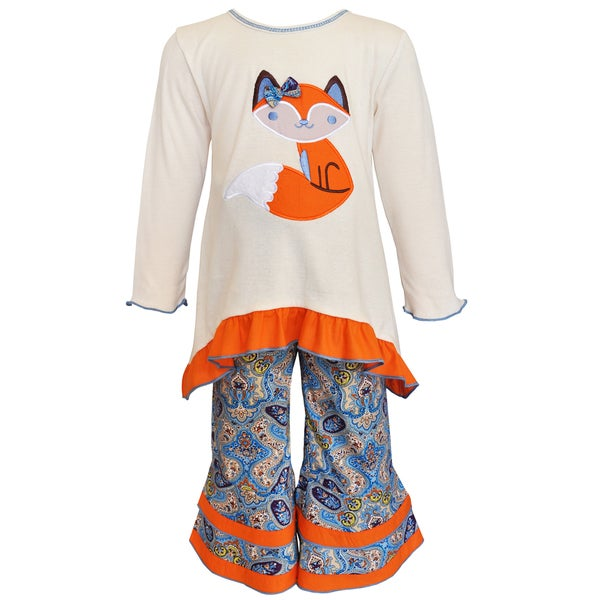 AnnLoren Girls' Cream and Orange Cotton Fox Tunic and Pant Set