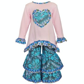 AnnLoren Girls' Pink and Blue Heart Tunic and Pant Set
