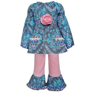 AnnLoren Girl's Blue, Grey, and Pink Cotton Floral Damask Tunic and Legging Set