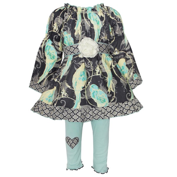AnnLoren Girls Blue Bird Dress With Jersey Pants Outfit