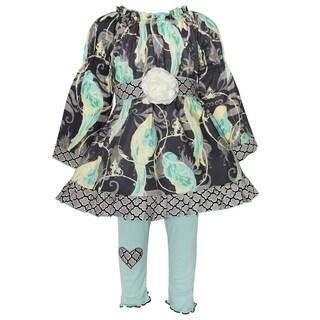 AnnLoren Girls Blue Bird Dress With Jersey Pants Outfit