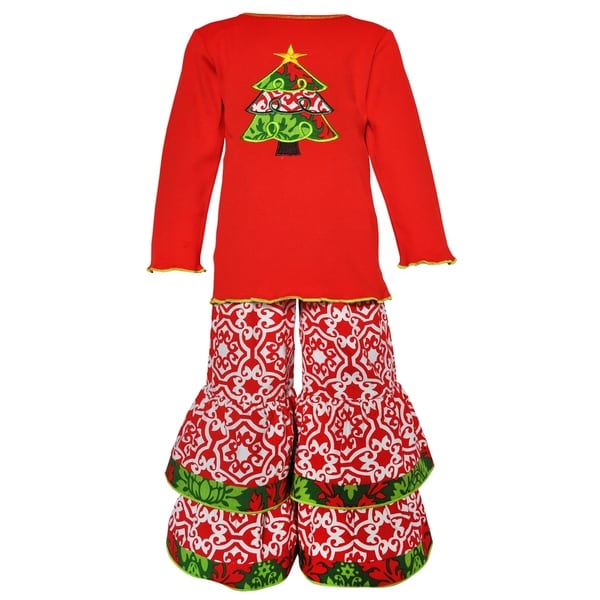 Ann Loren Girls' Red/White/Green Cotton Lattice Christmas Tree Holiday Outfit 19063343