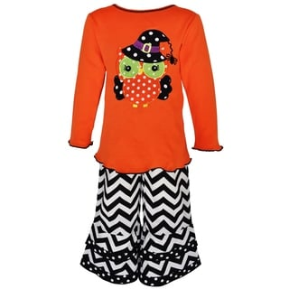 AnnLoren Girl's Black and Orange Halloween Owl Outfit