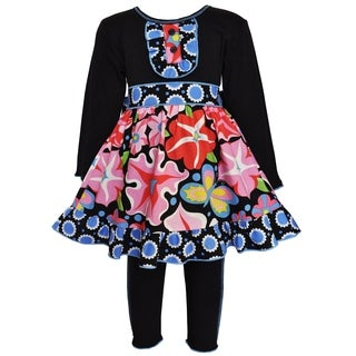 AnnLoren Girls' Blooming Flower Multi-colored Cotton Dress and Legging Set