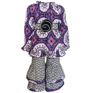 AnnLoren Girls Purple/Gray Cotton Peasant Medallion Tunic and Lattice Pants