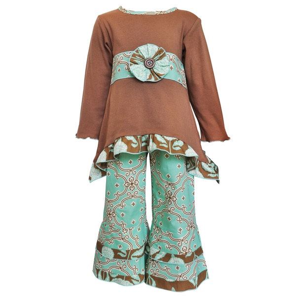 AnnLoren Girls' Blue/Brown Cotton Jersey Tunic and Lattice Pants Outfit