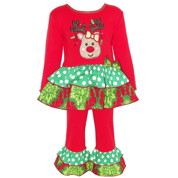 AnnLoren Girls Red Christmas Reindeer Dress and Legging Set