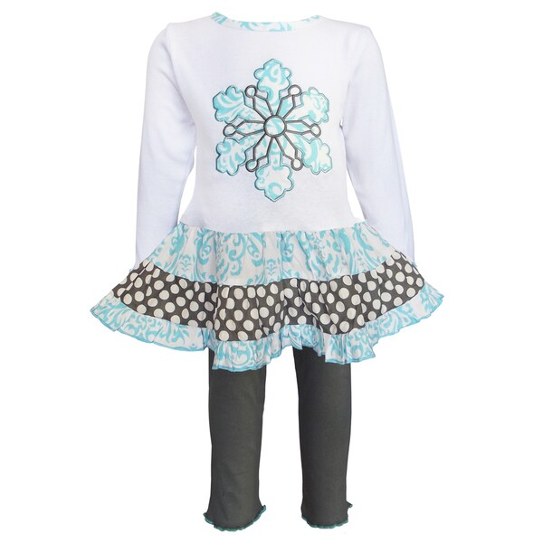 AnnLoren Girls' Blue Snowflake Cotton Dress and Legging Set