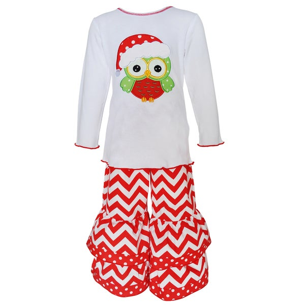 AnnLoren Girls' Christmas Owl Cotton Shirt and Legging Set