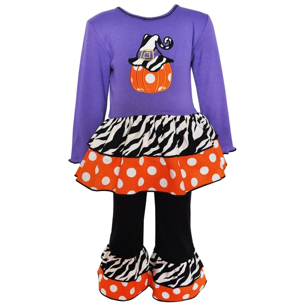 AnnLoren Girls' Purple Cotton Pumpkin Polka Dot Outfit
